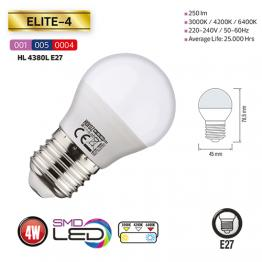HL4380L 3,5W WHITE 3000K E27 100-250V LED BULBS